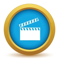 Gold cinema icon vector image