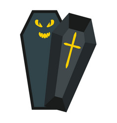 halloween coffin flat icon halloween and scary vector image