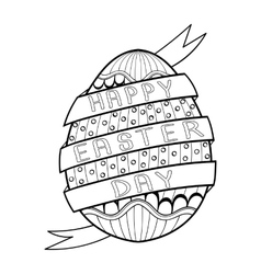 Hand drawn artistic Easter egg for adult coloring vector