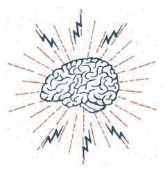 Hand drawn brain lightning bolts vector