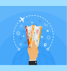 Hand holding two airline tickets with infographic vector