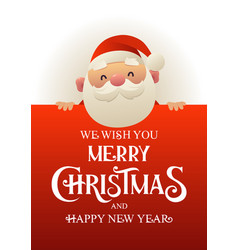 happy cute santa claus stands behind red vector image