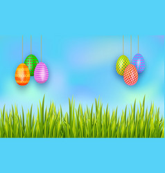 happy easter hanging painted eggs on sky vector image