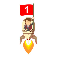 happy woman holding number one flag in rocket ship vector image