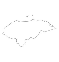 honduras - solid black outline border map of vector image