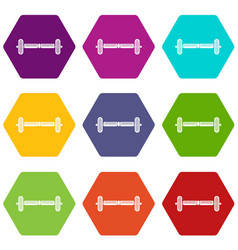 Hoverboard gyro pod icon set color hexahedron vector