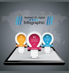 infographic design bulb light digital gadget vector image