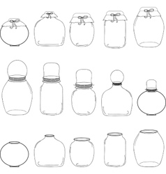 Jars set jar with bow silhouettes vector image