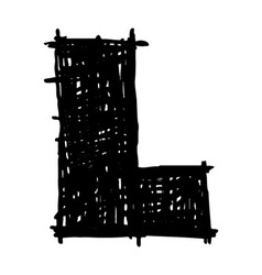 L - hand drawn character sketch font vector
