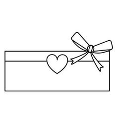 Love cardboard box bow heart romance present line vector