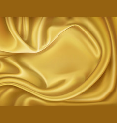 Luxury realistic golden silk satin textile vector