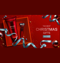 men cosmetics christmas gift banner cream razor vector image