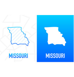 Missouri - us state contour line in white vector