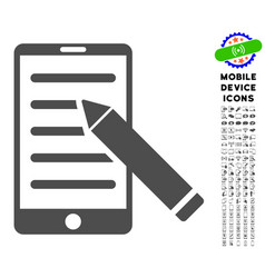 mobile edit pencil icon with set vector image