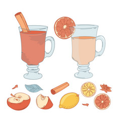 Mulled wine set christmas vector