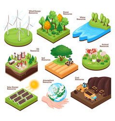 Natural resources isometric set vector