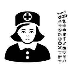 Nurse Icon With Copter Tools Bonus vector