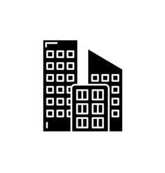 office buildings black icon sign on vector image