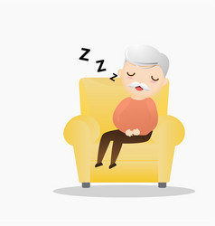 Old man sleeping in an armchair cute grandpa vector
