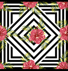Pattern flowers on geometric background vector