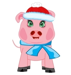 Piglet in hat and scarf vector