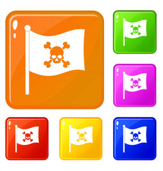 Pirate flag icons set color vector