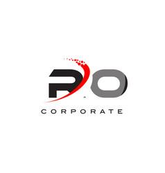 Ro modern letter logo design with swoosh vector