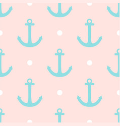 sailor pattern with polka dots and anchors vector image