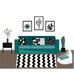 scandinavian livingroom interior with black vector image