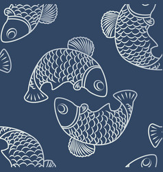 seamless patterns with fish-01 vector image