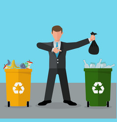 selective waste sorting different colored recycle vector image