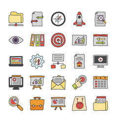 Seo and web development icons vector