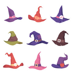 set colorful witch hats vector image