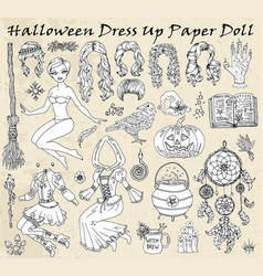 set dress up paper doll with halloween witch vector image