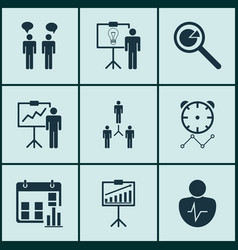 Set of 9 board icons includes group organization vector
