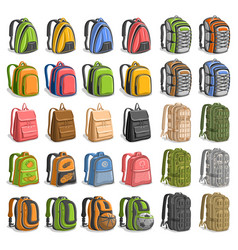 Set of various backpacks vector