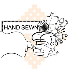 sewing and cutting electric sewing machine symbol vector image