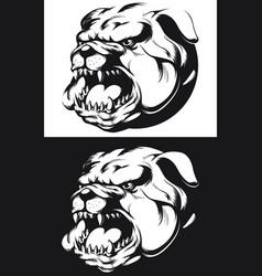 silhouette angry bulldog head barking biting vector image