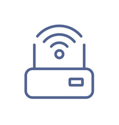 Simple lineart icon router with good solid wifi vector