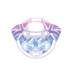 sketch british skull with hat vector image