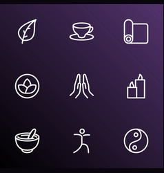 Spiritual icons line style set with cup of tea vector