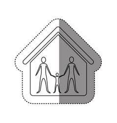 sticker of monochrome contour of family group in vector image