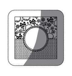 sticker silhouette decorative frame with pattern vector image