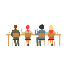 Students sitting at desks at college or university vector