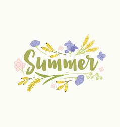 Summer word written with elegant cursive font and vector