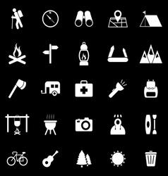 Trekking icons on black background vector