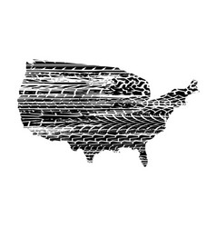 usa map tire tracks vector image