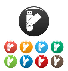 usb device icons set color vector image