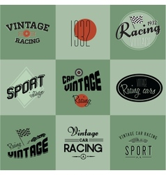 Vintage car racing badges vector