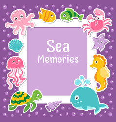Violet border with cute sea animals sea frame vector